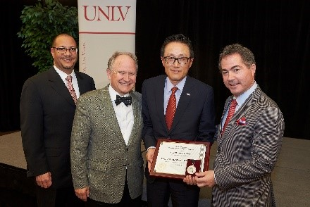 Receiving the 2015 Regents' Researcher Award, Nevada System of Higher Education